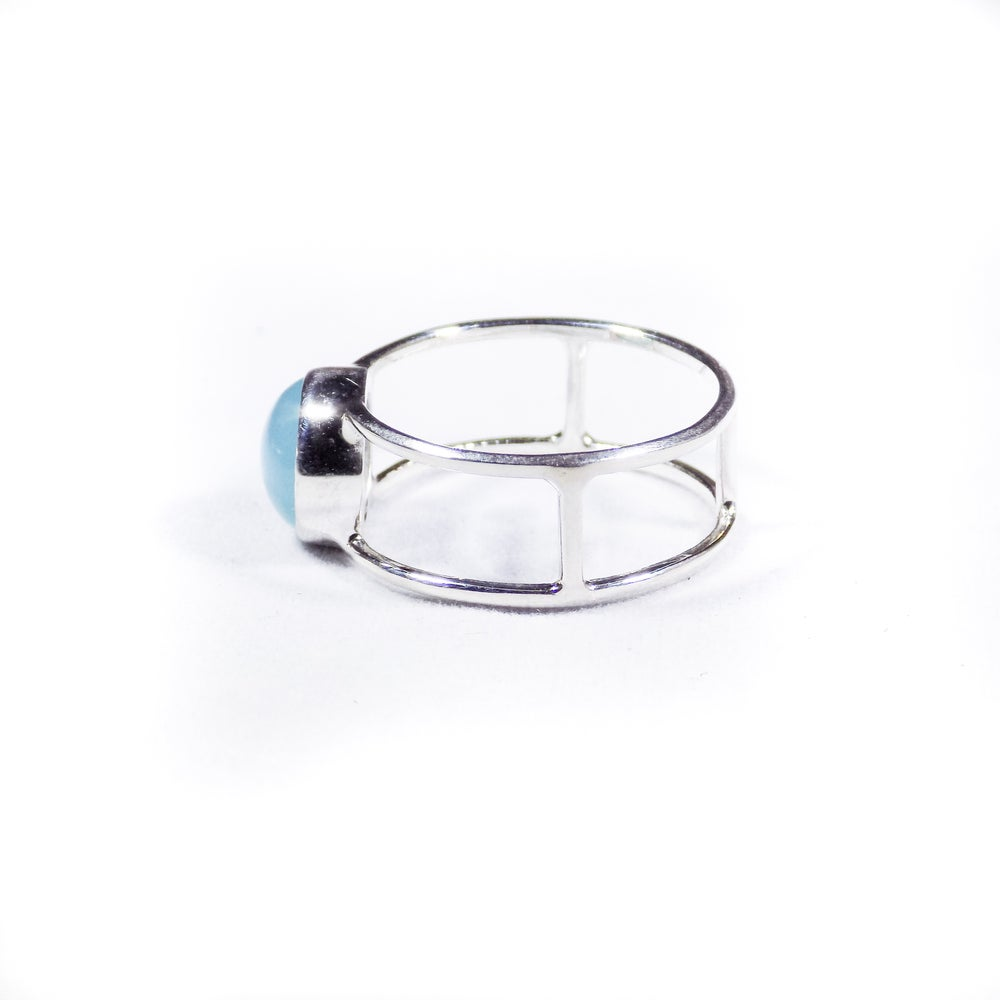 Image of Single Stone Double Band Peruvian Chalcedony Ring- silver