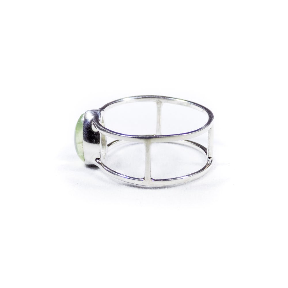 Image of Single Stone Double Band Prehnite Ring - silver