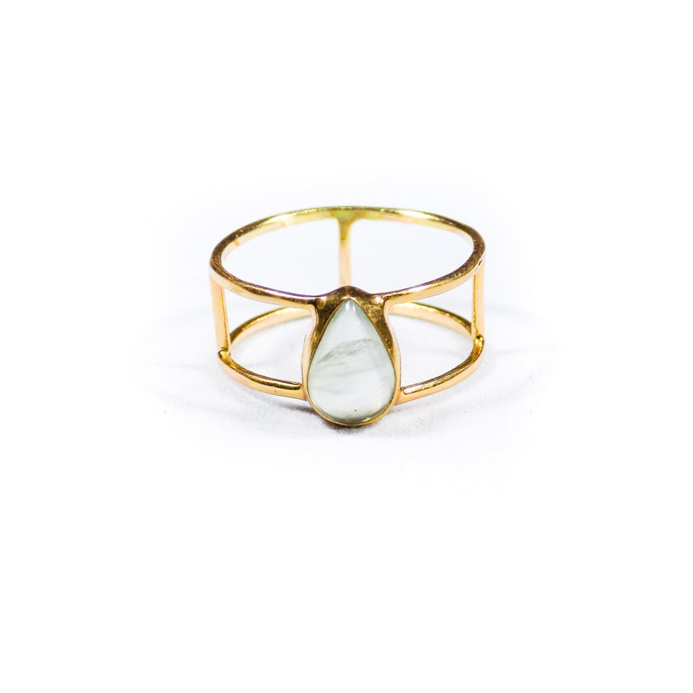 Image of Single Stone Double Band Prehnite Ring- gold