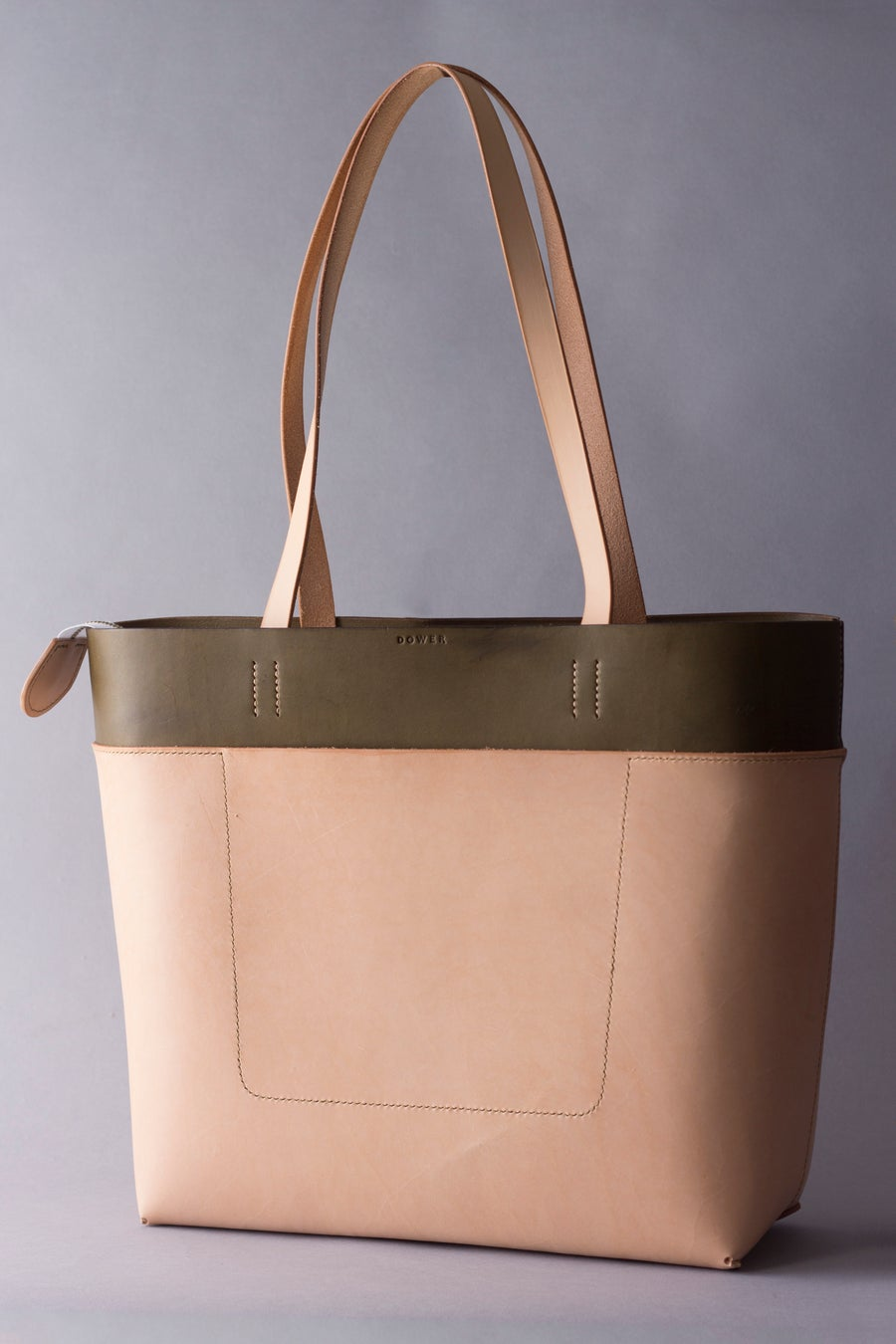 Image of Be Tote<br>Olive Harness and Natural with Zipper