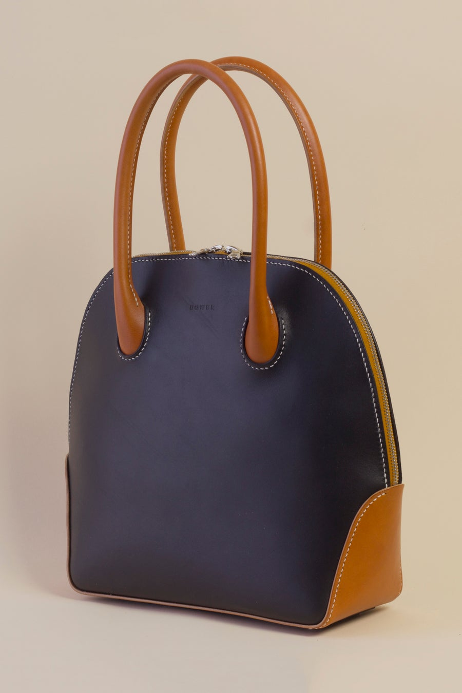 Image of Alie Handbag <br> Black and Tan English Bridle