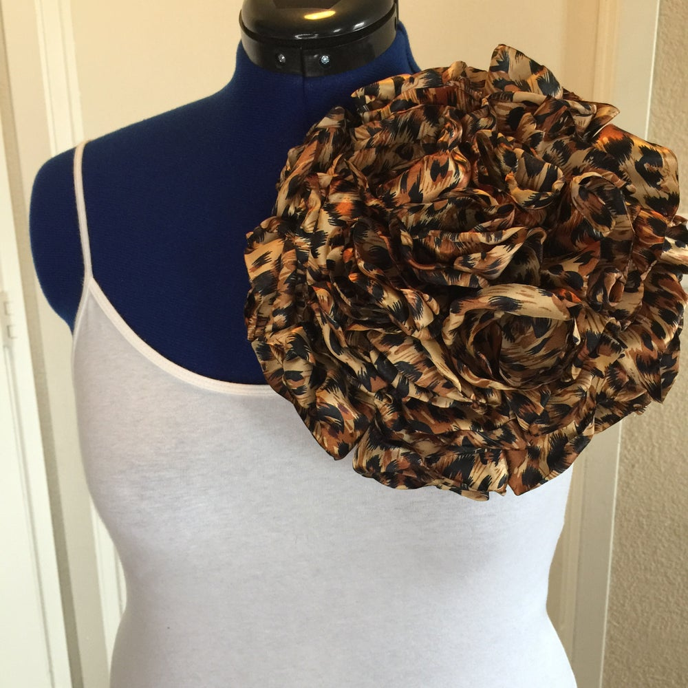 Image of Mega Leopard Print Flower Pin - 10 inches
