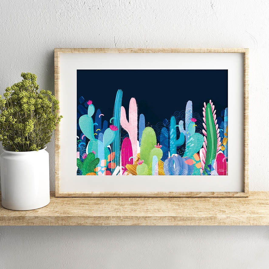 Image of Cactus Fields - Art Print - NAVY