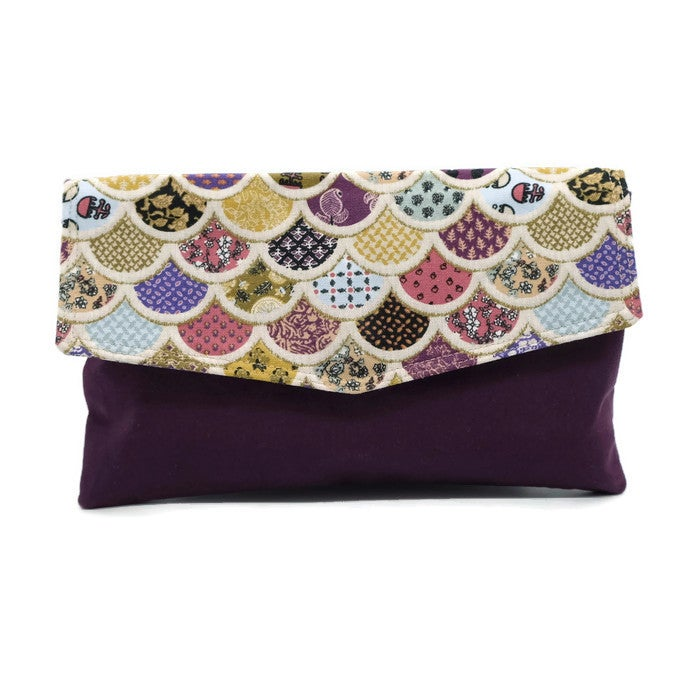 Image of Envelope Clutch - Purple Round Bunting