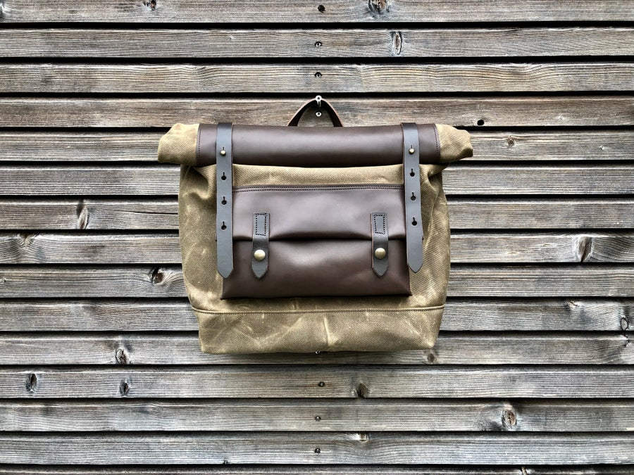 Image of Waxed canvas leather saddlebag Motorbike bag Motorcycle bag Bicycle bag in waxed canvas and leather