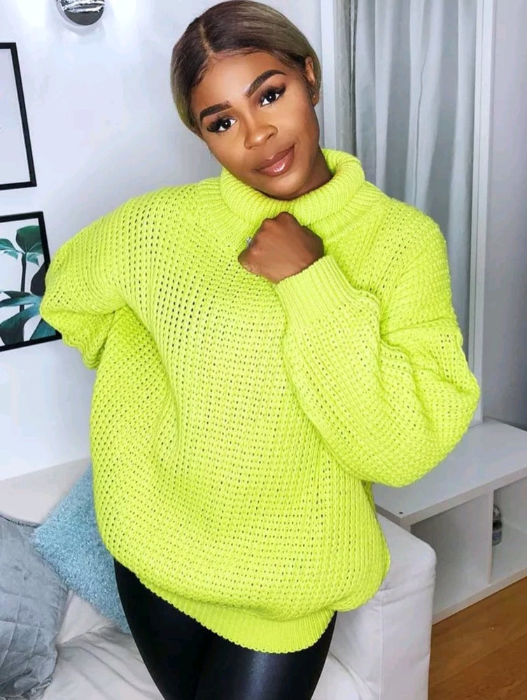 Image of Neon yellow roll neck jumper