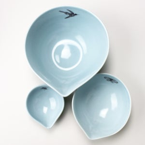 Image of nesting bowls set of three garden friends, ocean