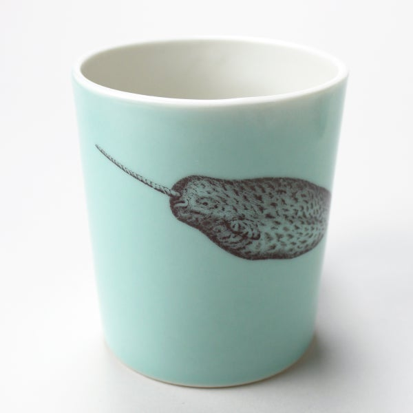 Image of 16oz mug with narwhal, aqua