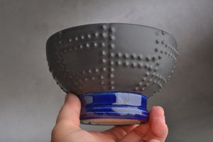 Image of Shaving Bowl Made To Order Black and Blue Sheet Metal Shaving Bowl by Symmetrical Pottery