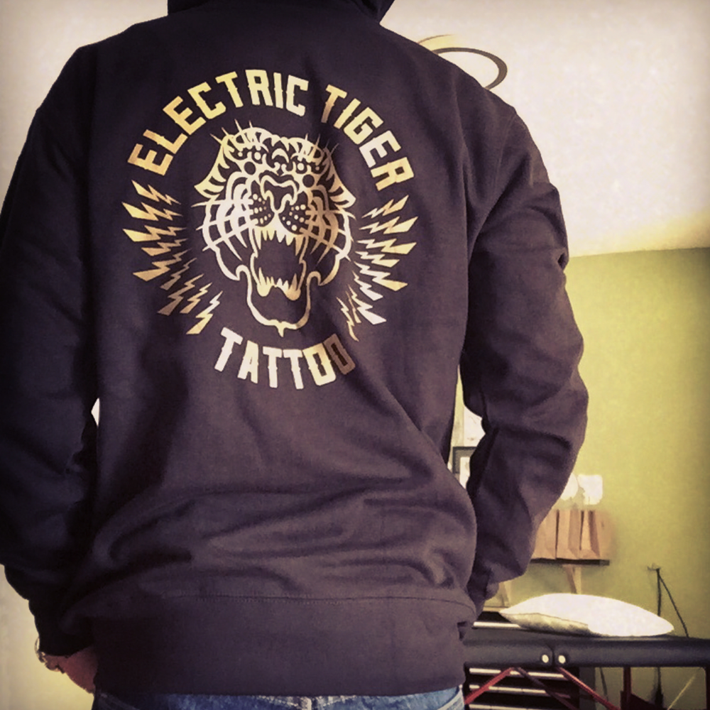 "Image of PREORDER - ""ELECTRIC TIGER TATTOO"" ZIP UP Hoodie"