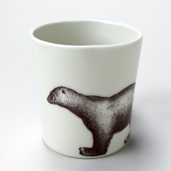 Image of 16oz mug with polar bear, ivory