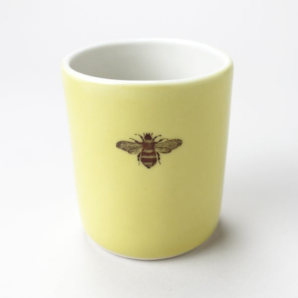 Image of 10oz tumbler with bumblebee, mustard