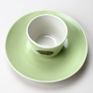 Image of good morning set: wee tea cup and plate, in avocado with hedgehog