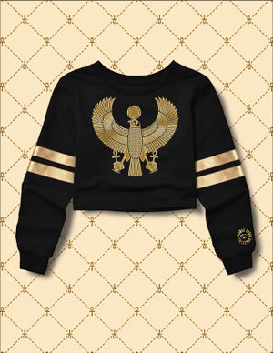 Image of Women's Gold HRU Black & Gold Stripe Cropped Sweater