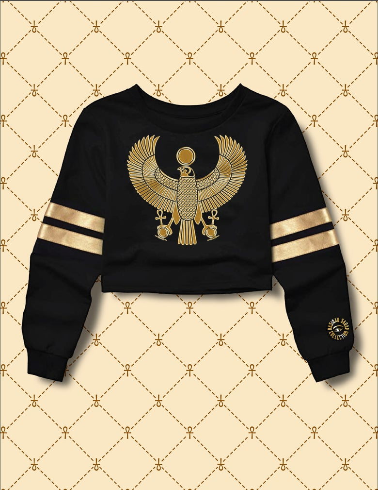 Image of Women's Gold HRU Black & Gold Stripe Cropped Sweater
