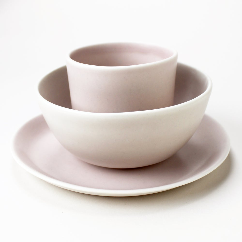 Image of blush set of three: 12oz tumbler, bowl, side plate