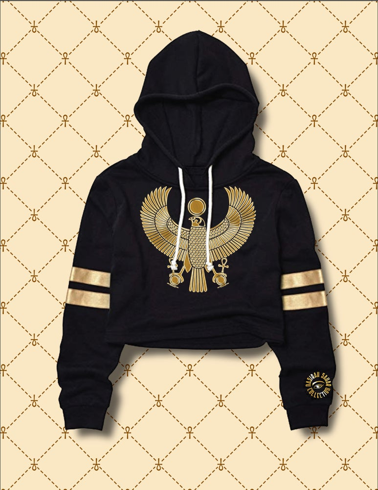 Image of Women's Gold HRU Black & Gold Stripe Cropped Hoodie Sweater