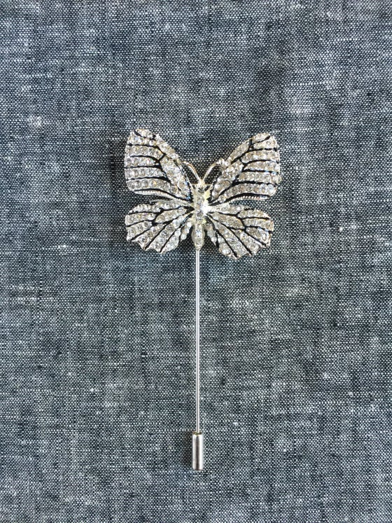 Image of Butterfly Lapel Pin  (Silver/Black)