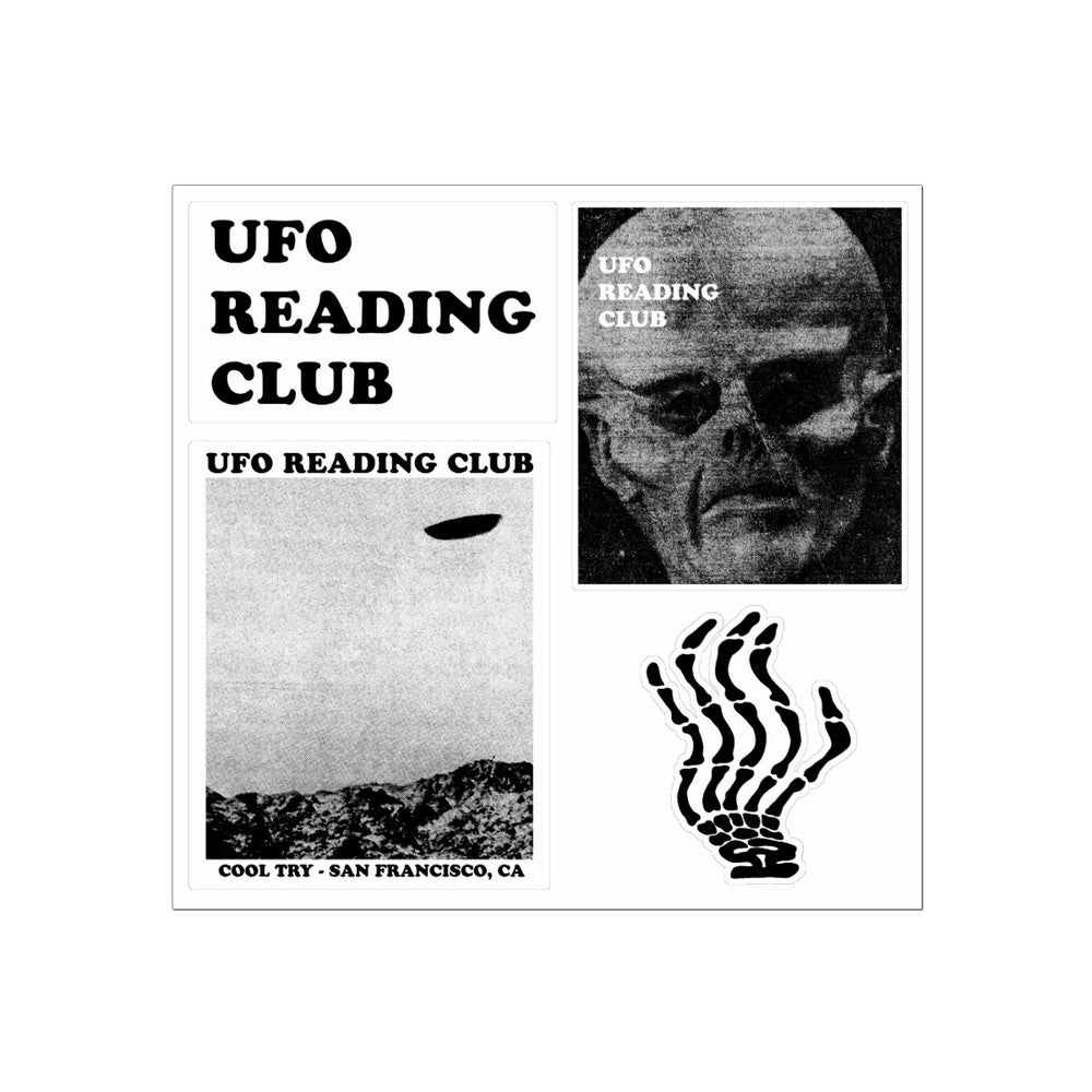 Image of UFO Reading Club vinyl sticker sheet