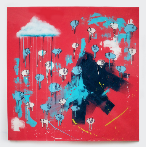 "Image of Raining Cows, Unmasked ""UNITED AGAIN"" 42""X42"" 2019"