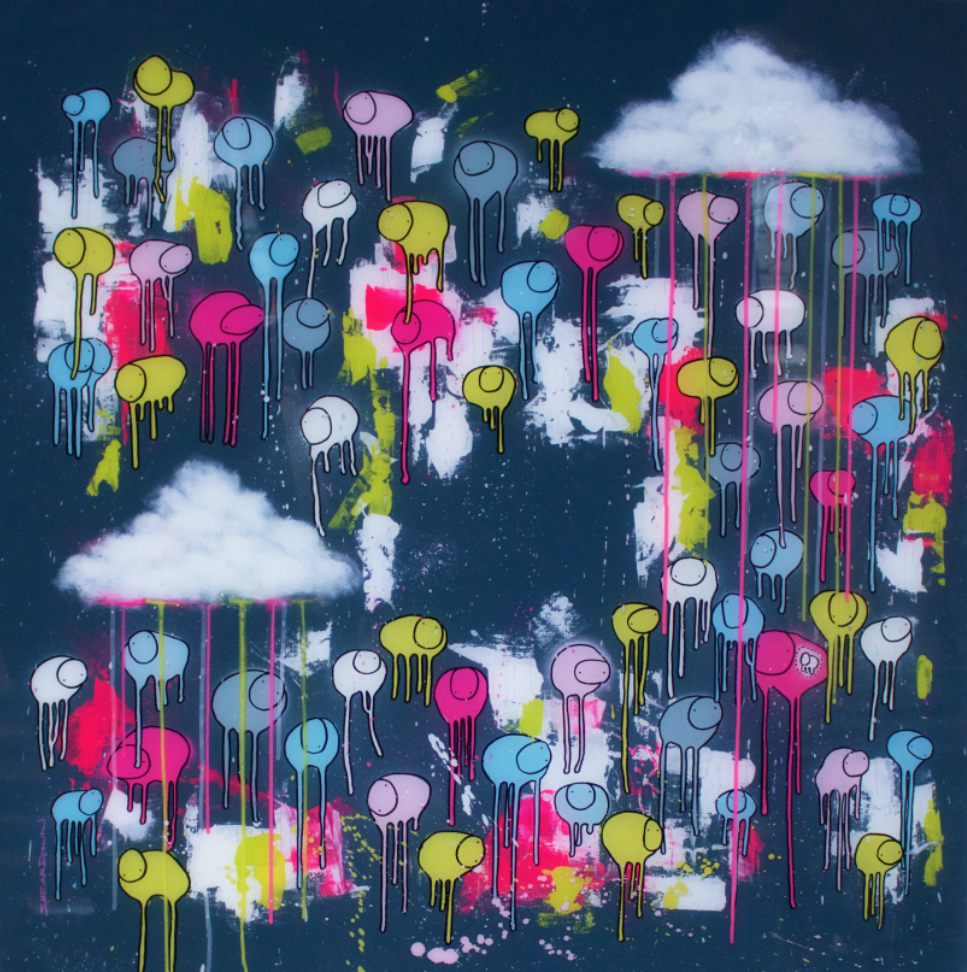 "Image of Raining Cows, ""CENTRE OF ATTENTION"" 42""X42"" 2019"