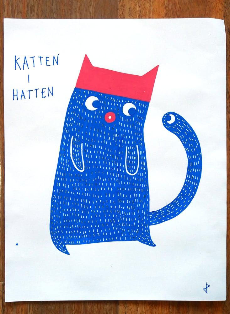 "Image of A3 ""KATTEN I HATTEN"" Original Artwork"