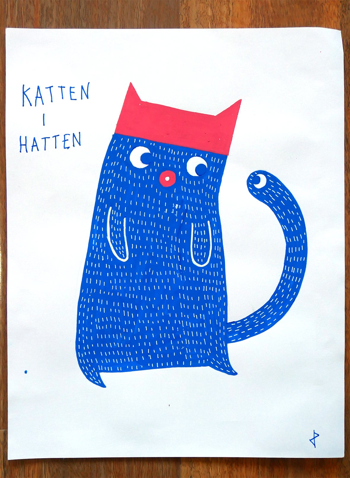 "Image of A3 ""KATTEN I HATTEN"" Original Artwork"