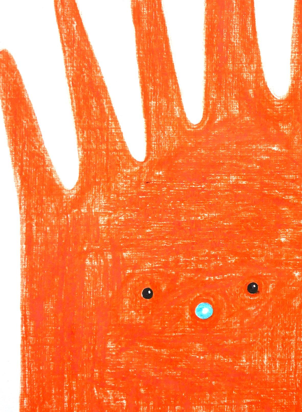 """Image of A3 """"SIX FINGER TINY FACE"""" Original Artwork"""