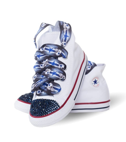 97213ba49551 Converse Junkie s Children s White Convere with Dallas Team Laces