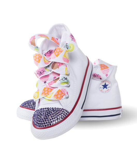 4e86f7f2663c Converse Junkie s Children s White Converse Shoe with Birthday Laces