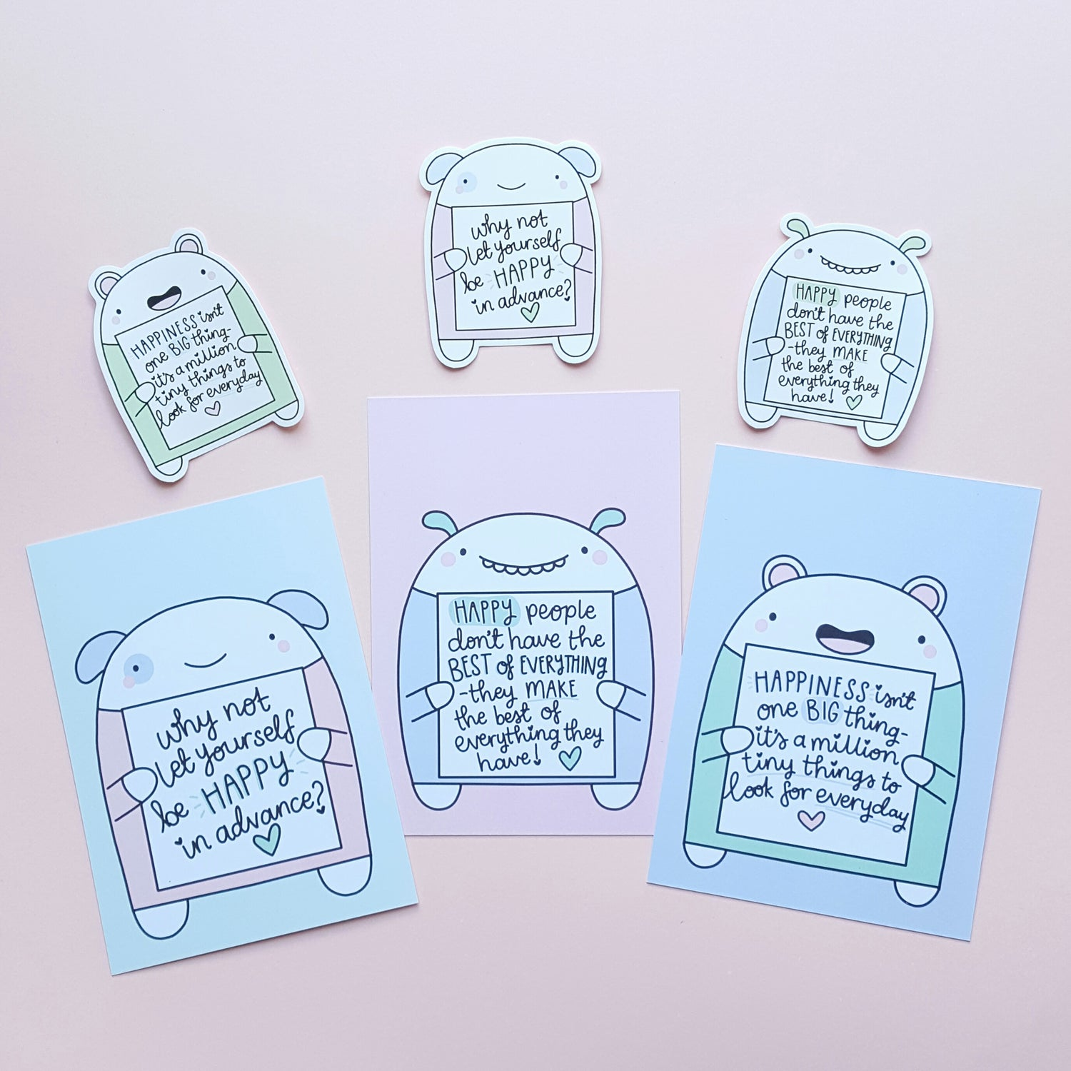 Image of The Happiness Collection - Critter Postcards & Stickers