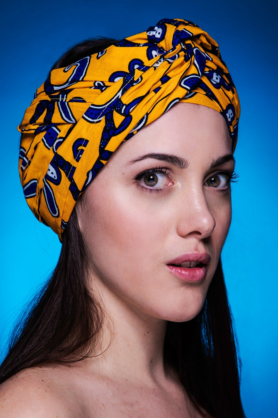 "Image of headwrap a striscia ""yellow spring"""