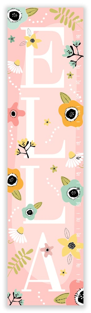 Image of Modern Boho Blush Floral - Personalized Canvas Growth Chart