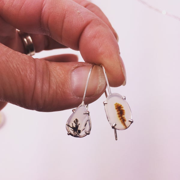 Image of Mismatched dendritic earrings