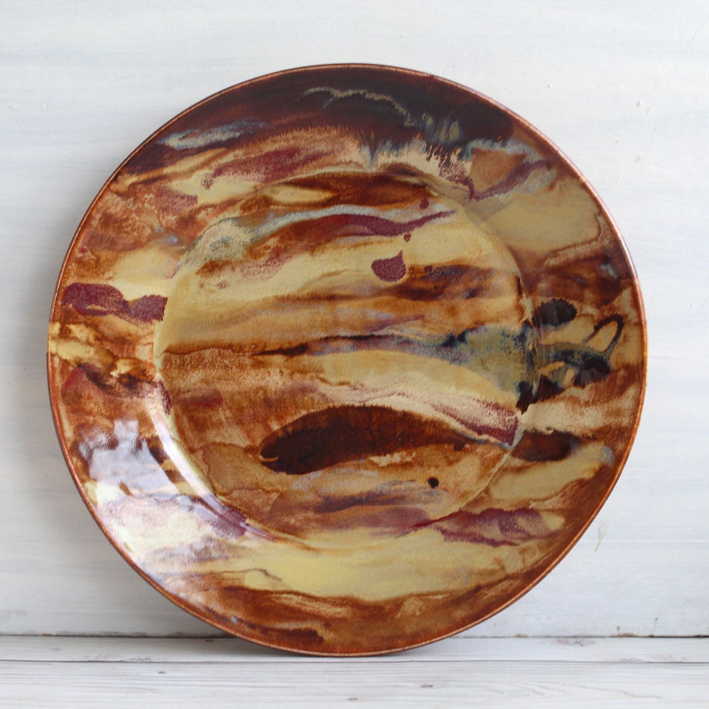 Image of Stunning Art Pottery Dinner Plate, Handmade Pottery Dish, Nature Inspired Dinnerware, Made in USA