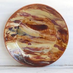 Image of Stunning Art Pottery Dinner Plate, Handmade Pottery Dish, Nature Inspired Dinnerware, Made in USA