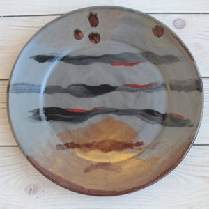 Image of Art Plate in Modern Contemporary Design, Stoneware Pottery Dinnerware Plate, Made in USA