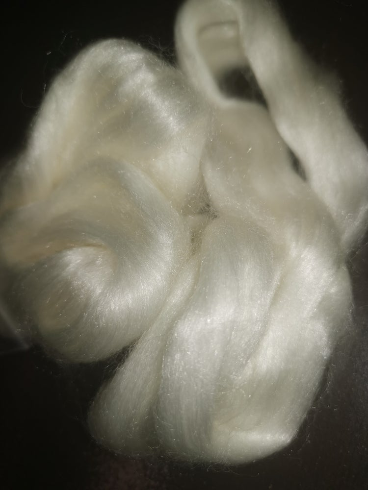 Image of Undyed 50/50 SW Merino Tencel Blend.   4 oz Bag