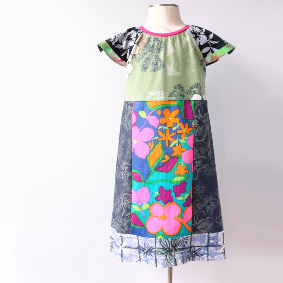 Image of spring break 5/6 vintage hawaiian aloha tropical floral flower flutter sleeve mix dress