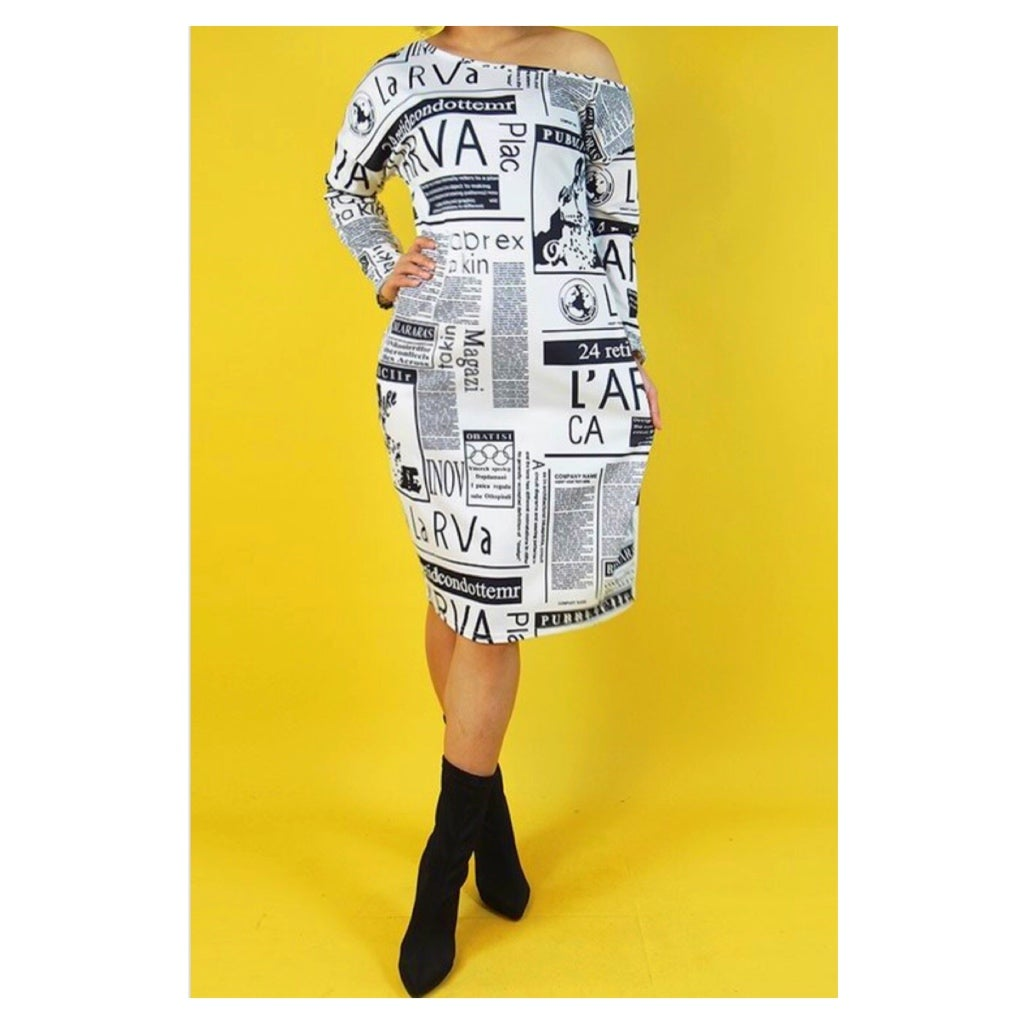 Image of Newsprint Dolman Dress