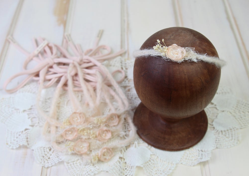 Image of Peach Braided Mohair Tieback with Jersey Ends