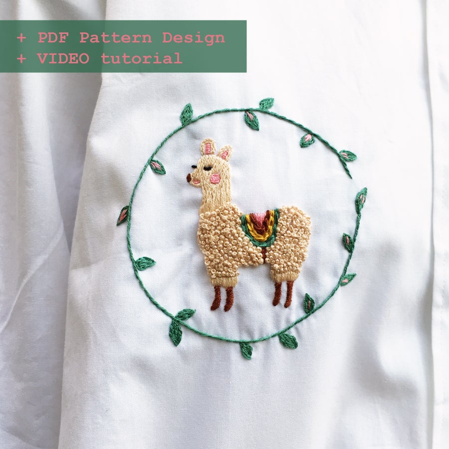Image of Alpaca in Spring - Hand embroidery school w. Damaja // Clothing pattern No.2 with video tutorial