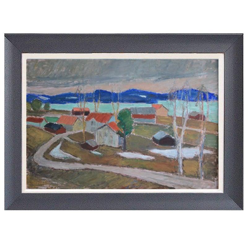 Image of Mid-century Painting, 'View towards Ansjö, Kälarne,' Johan Hedman