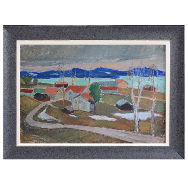 Image of Large Mid-century Painting, 'View towards Ansjö, Kälarne,' Johan Hedman