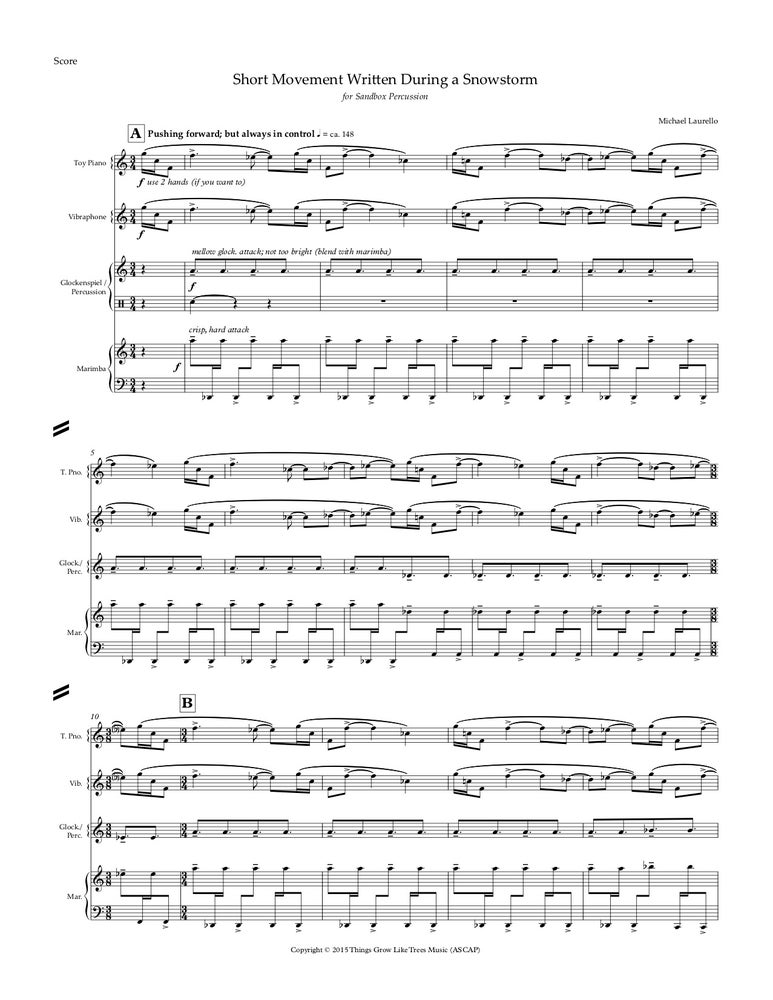 Image of Short Movement Written During a Snowstorm, for percussion quartet