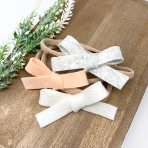 Image of Neutral Felt Baby Headband (Ready to Ship)