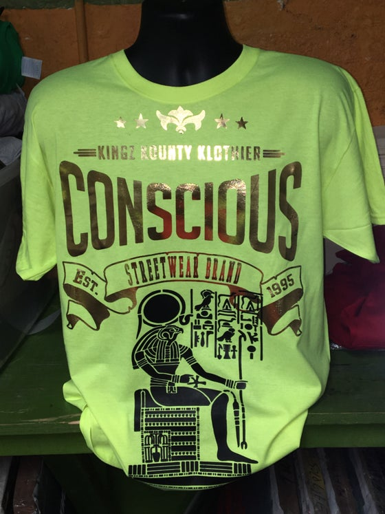 Image of Neon Green Heru The Elder Gold Conscious TShirt