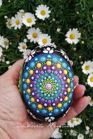 Image of Egg Shaped Mandala painted stone- Easter egg Mandala Stone by Alberto Martin