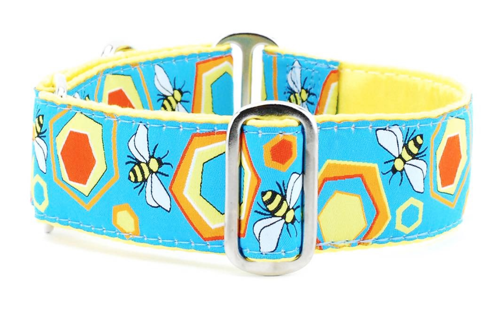 "Image of IncrediBullStella Custom Wide 1.5"" Collar -Spring Time Bees"