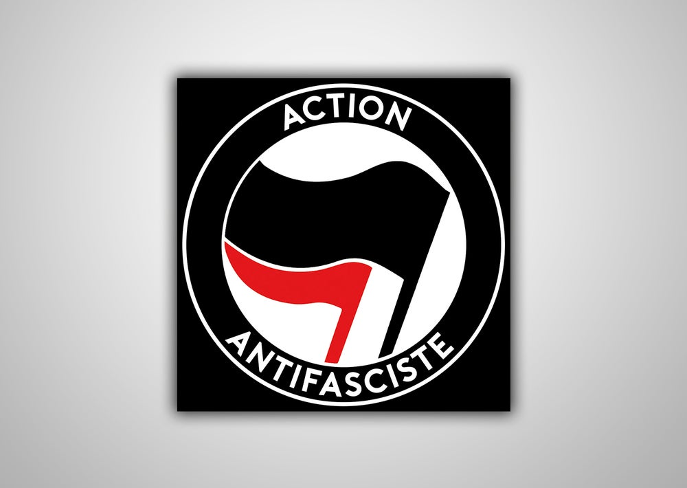 "Image of 100 Autocollants ""Action Antifasciste"" (Drapeau Noir)"